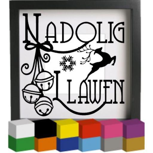 Nadolig Llawen Vinyl Glass Block / Photo Frame Decal / Sticker / Graphic