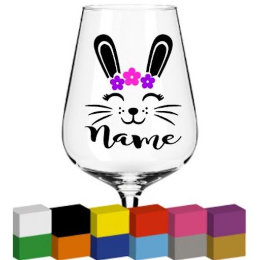 Bunny Head Personalised Glass / Mug / Cup Decal / Sticker / Graphic