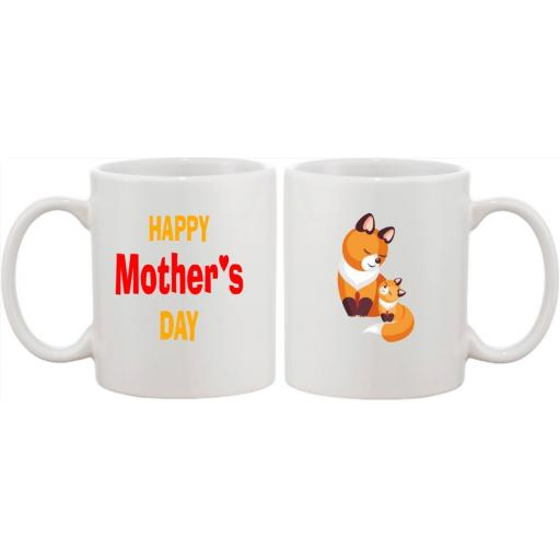 Happy Mother's Day Mug with choice of Bear, Elephant, Lion, Fox, Mouse or Rabbit