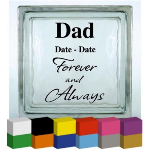 Forever and Always Personalised Vinyl Glass Block / Photo Frame Decal / Sticker / Graphic