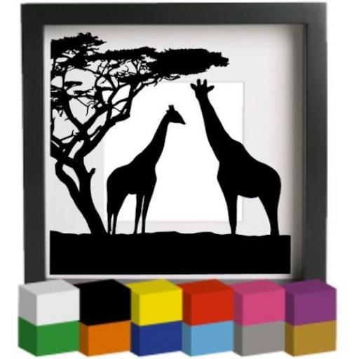Giraffes Vinyl Glass Block / Photo Frame Decal / Sticker / Graphic