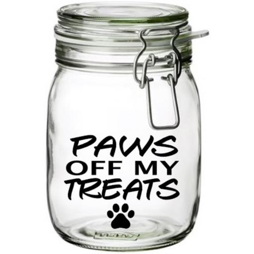 Paws off my Treats Jar Decal / Sticker / Graphic