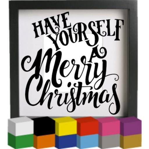 Have yourself a Merry Christmas Vinyl Glass Block / Photo Frame Decal / Sticker / Graphic