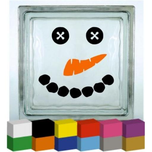 Snowman Face Vinyl Glass Block / Photo Frame Decal / Sticker / Graphic