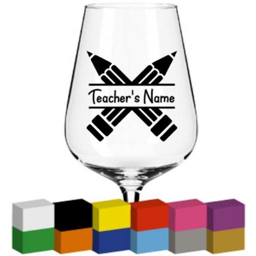 Pencil design Personalised Glass / Mug / Cup Decal / Sticker / Graphic
