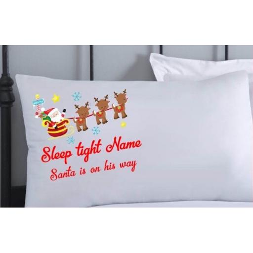 Personalised Christmas Eve Pillowcase Sleep tight santa is on his way