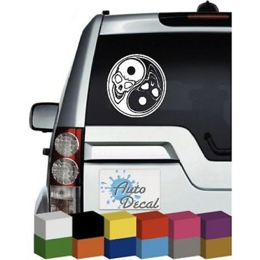 Skull Yin Yang Vinyl Car Bumper, Decal / Sticker / Graphic