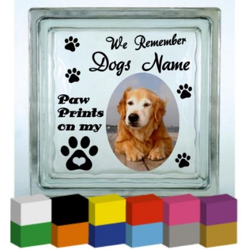 We remember (Dogs Name) Memorial Vinyl Glass Block / Photo Frame Decal / Sticker/ Graphic