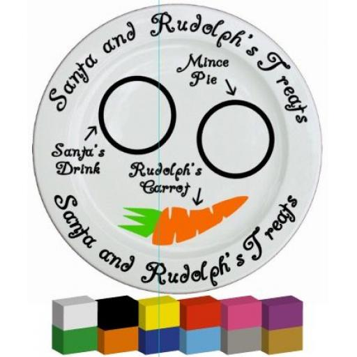 Santa and Rudolph's Treat Plate Vinyl Decal / Sticker / Graphic