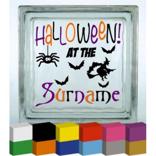 Halloween at the Personalised Vinyl Glass Block Decal / Sticker / Graphic
