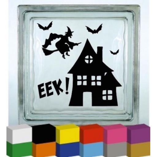 Witch House Bats Halloween Vinyl Glass Block Decal / Sticker / Graphic