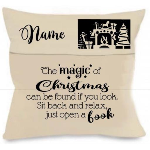The Magic of Christmas Cushion Cover with Pocket Personalised