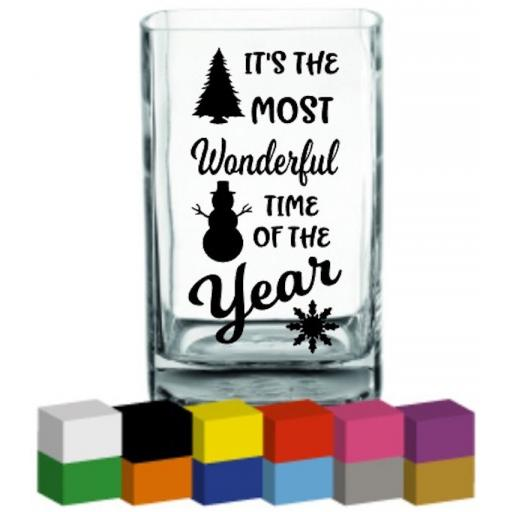 Its the most wonderful time of the year V2 Vase Decal / Sticker / Graphic