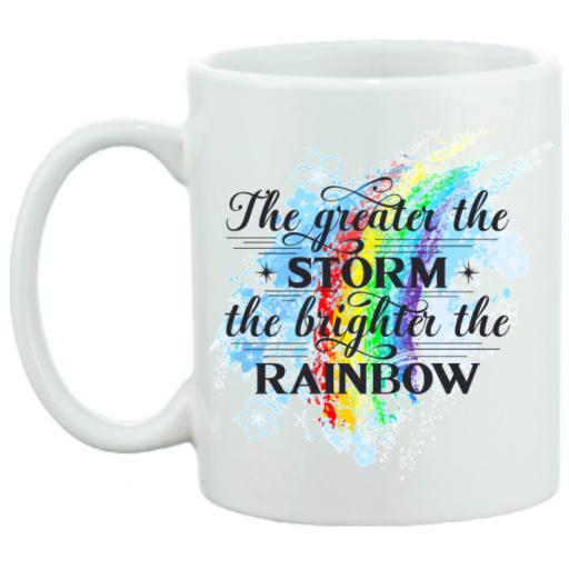 The Greater the Storm the brighter the Rainbow Personalised Mug