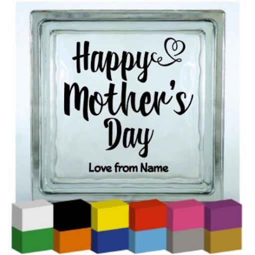 Happy Mother's Day Personalised Vinyl Glass Block / Photo Frame Decal / Sticker / Graphic