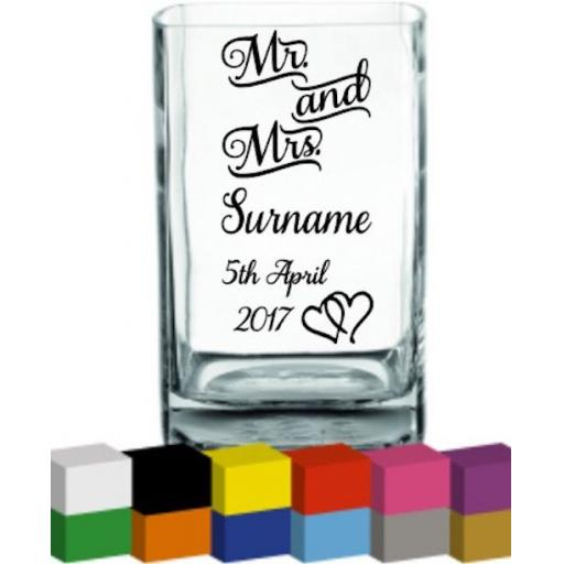 Mr & Mrs Personalised Wedding Vase Decal / Sticker / Graphic