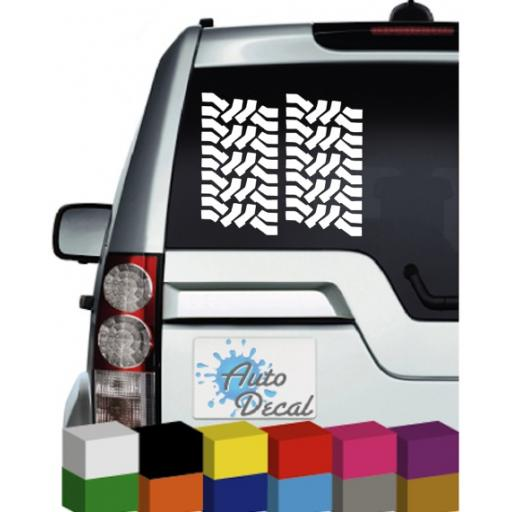 Tyre Tread x 2 Vinyl Car, Van, 4x4, Caravan, Mirror, Fridge / Window Sticker
