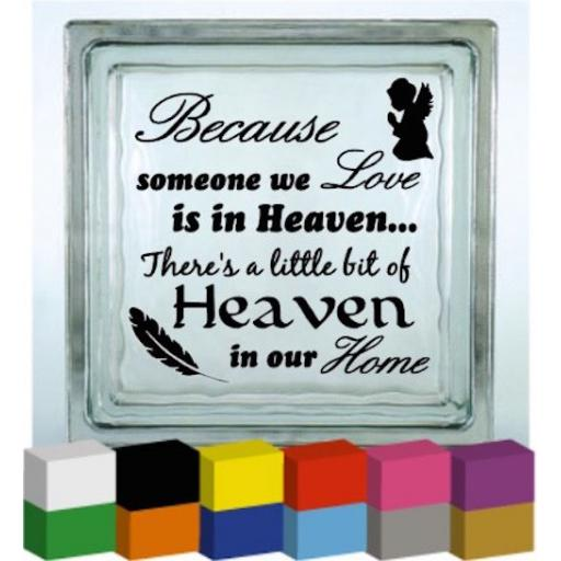 Because someone we Love (Angel / Feather) Vinyl Glass Block / Photo Frame Decal / Sticker/ Graphic