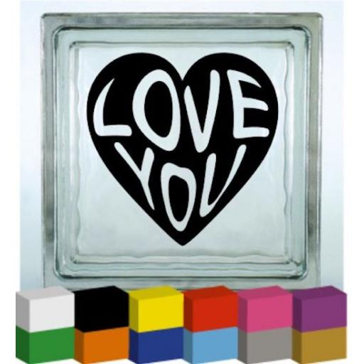 Love You Heart Vinyl Glass Block / Photo Frame Decal / Sticker / Graphic
