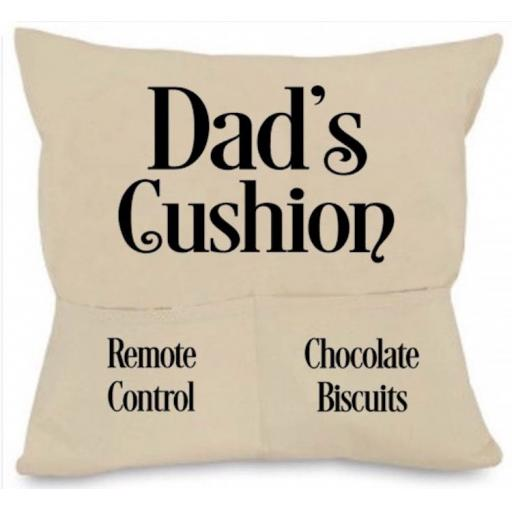 Dad's Cushion Cover with Pockets Personalised