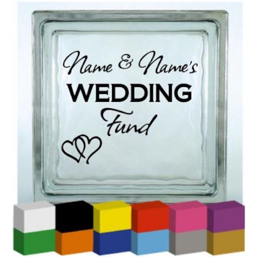 (Personalised) Wedding Fund Vinyl Glass Block / Photo Frame Decal / Sticker/ Graphic