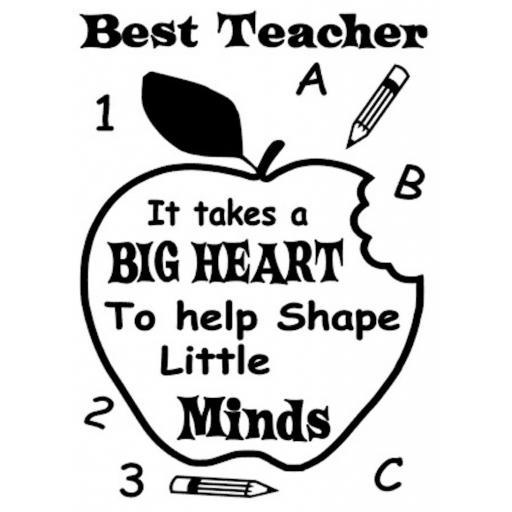 Best Teacher It takes a big heart Heat Transfer Vinyl