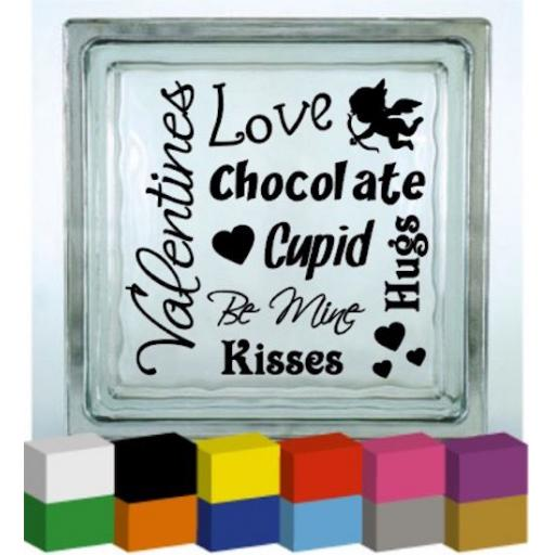 Valentine Wording Vinyl Glass Block / Photo Frame Decal / Sticker / Graphic