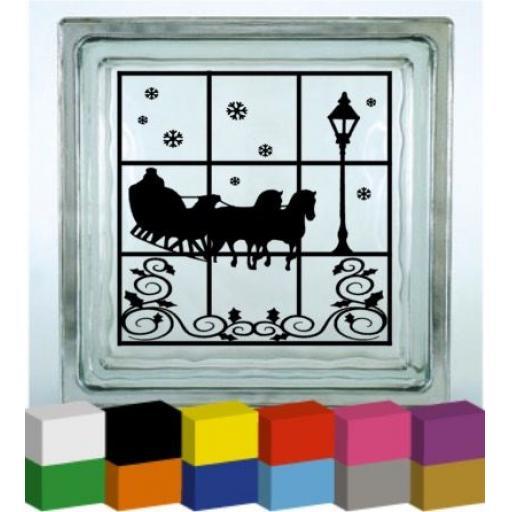 Winter scene Vinyl Glass Block Decal / Sticker / Graphic
