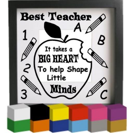 Best Teacher V2 Vinyl Glass Block / Photo Frame Decal / Sticker / Graphic