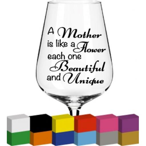 A mother is like a Flower Glass / Mug / Cup Decal / Sticker / Graphic