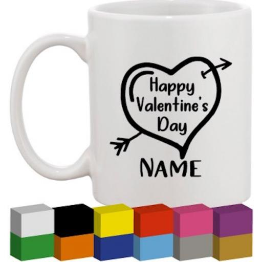 Happy Valentines Day Personalised Glass / Mug / Cup Decal / Sticker / Graphic