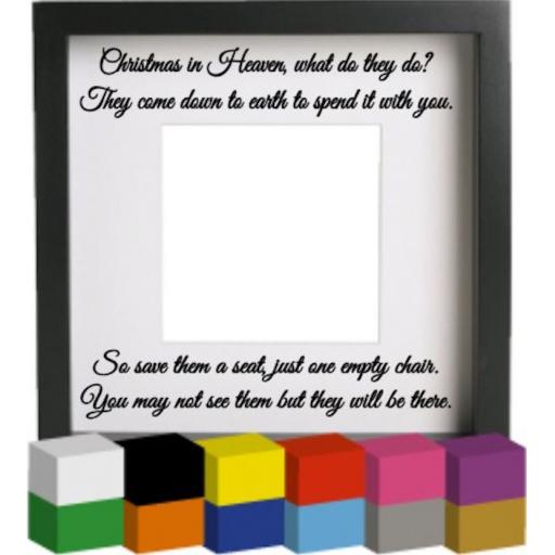 Christmas in Heaven Mount Vinyl Glass Block / Photo Frame Decal / Sticker / Graphic