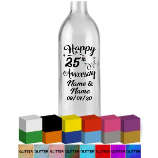 Happy Number Anniversary Personalised Bottle Vinyl Decal / Sticker / Graphic