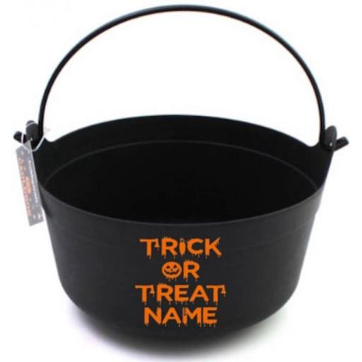 Trick or Treat Personalised Vinyl for Bucket Decal / Sticker / Graphic
