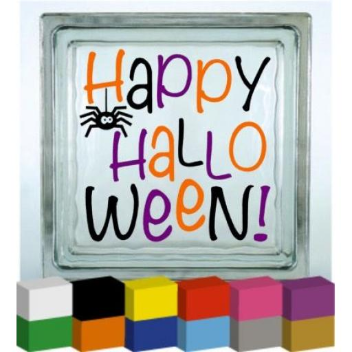 Happy Halloween (Writing) Vinyl Glass Block Decal / Sticker / Graphic