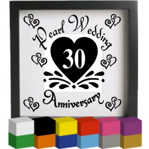 Pearl Wedding Anniversary Vinyl Glass Block / Photo Frame Decal / Sticker / Graphic