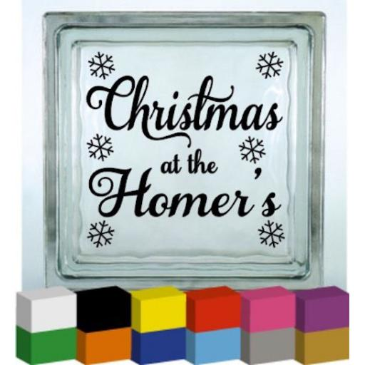 Christmas at the Personalised with surname V2 Vinyl Glass Block Decal / Sticker / Graphic