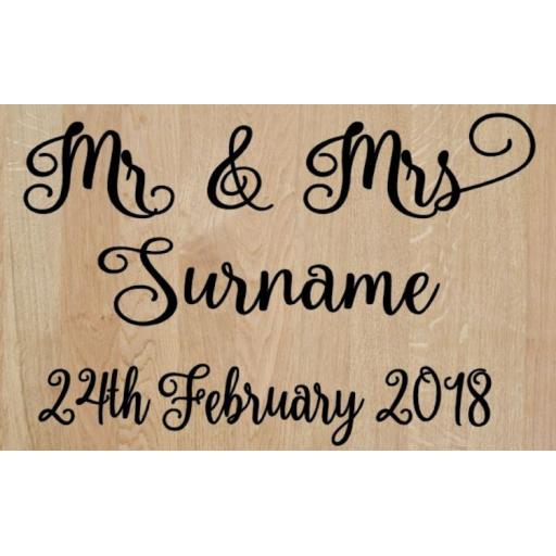 Mr & Mrs Personalised Box Decal / Sticker/ Graphic