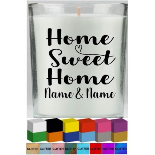 Home Sweet Home Personalised Candle Decal / Sticker / Graphic
