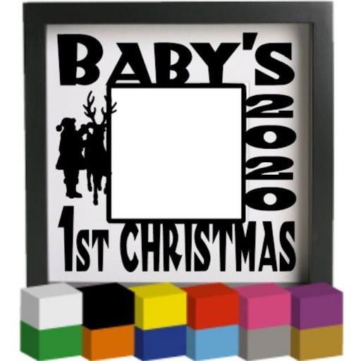 Baby's First Christmas Photo Vinyl Glass Block Decal / Sticker / Graphic
