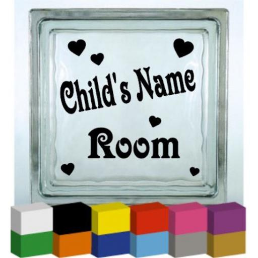 Personalised Child's Room Heart Vinyl Glass Block / Photo Frame Decal / Sticker/ Graphic