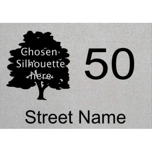Number street name with Silhouette House Decal / Sticker / Graphic
