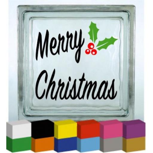 Merry Christmas with Coloured Holly Vinyl Glass Block Decal / Sticker / Graphic