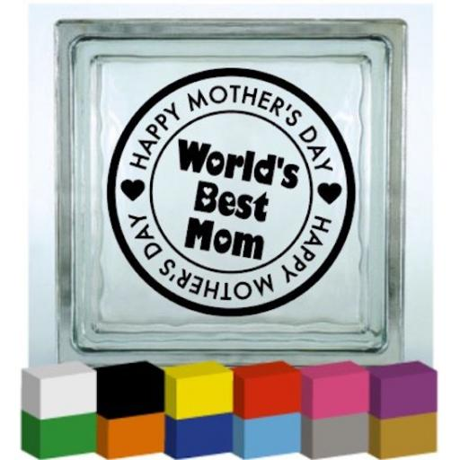 Happy Mother's Day Stamp Vinyl Glass Block / Photo Frame Decal / Sticker / Graphic