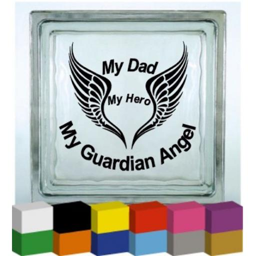 My Dad My Hero Vinyl Glass Block / Photo Frame Decal / Sticker/ Graphic
