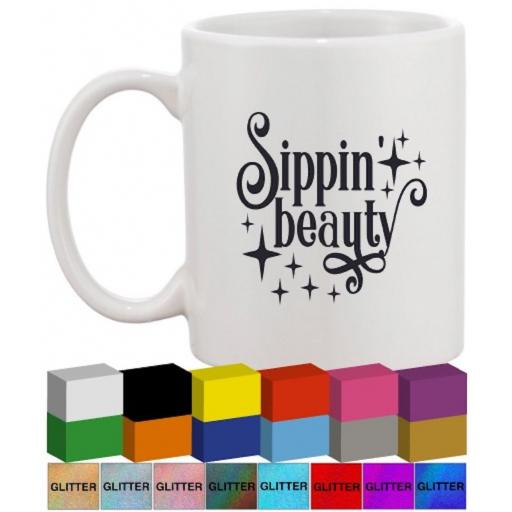 Sippin' Beauty Glass / Mug Decal / Sticker / Graphic