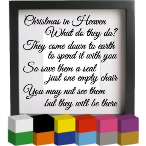Christmas in Heaven Vinyl Glass Block Decal / Sticker / Graphic