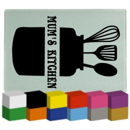 Mum's Kitchen Utensil Jar Chopping Board Decal / Sticker / Graphic