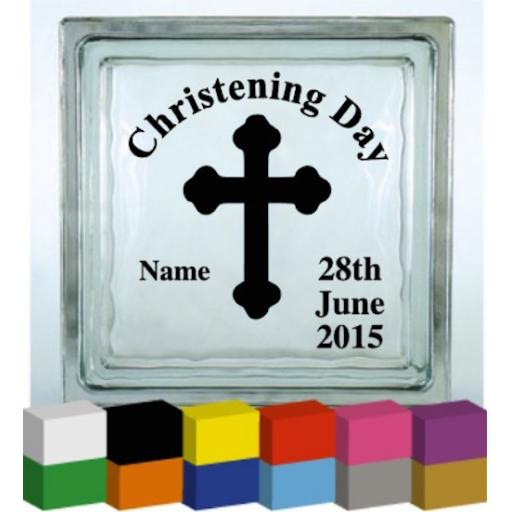 Christening Day (Personalised) Vinyl Glass Block / Photo Frame Decal / Sticker/ Graphic