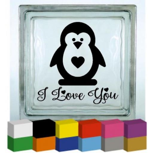 I love you Penguin Vinyl Glass Block / Photo Frame Decal / Sticker / Graphic